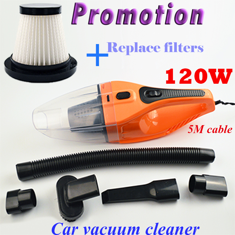 imágenes para 5 M 120 W 12 V Auto Aspiradora de Coches Súper Succión Húmeda Y Seca de Doble Uso