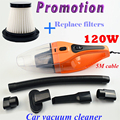 Promotion Car Vacuum Cleaner 5m 120w 12v Super Suction Wet And Dry Dual Use Vacuum free shipping