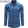 Men Shirt 2016 New Floral Denim Men Shirts Fashion Casual Designer Brand Chemise Homme CBJ-T0060