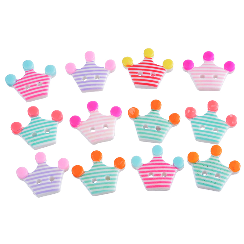Hoomall 10pcs Colorful Crown Heart Shape Acrylic Button For Kids Cute Cartoon Button DIY Scrapbooking Crafts Sewing Accessories button