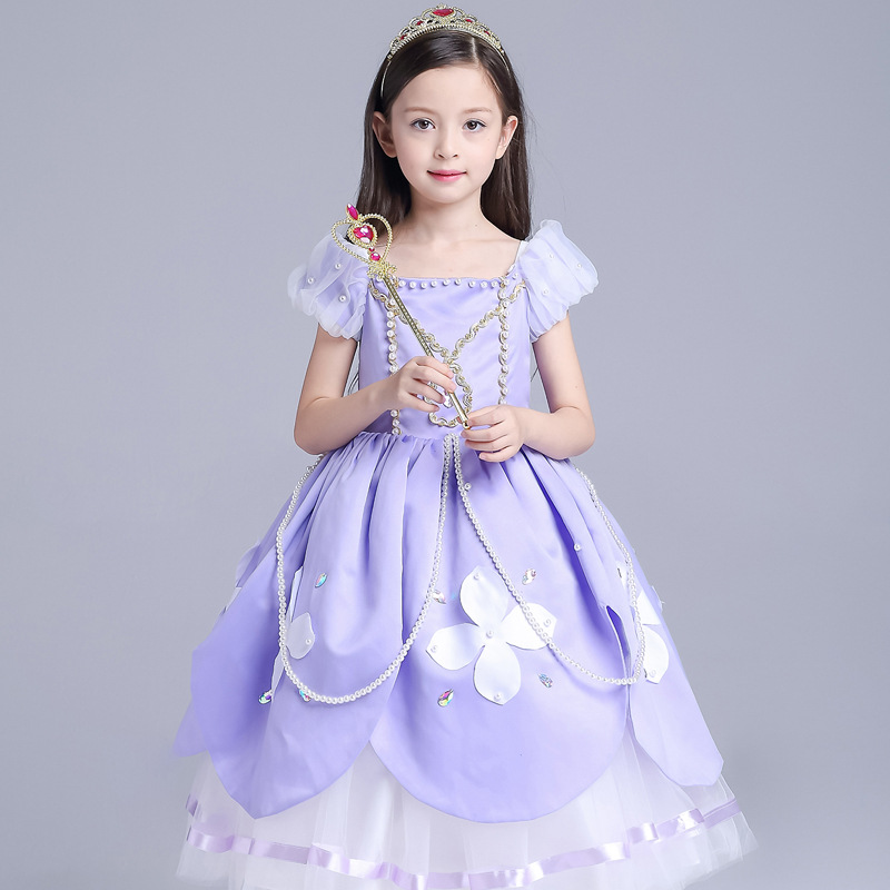 2017 Princess Sofia Dress Children Monsoon Kids Cartoon Costume Girls Party Dress Girls Kids Halloween Cosplay Sofia Clothing 10pcs micro usb 5pin b type female connector for mobile phone micro usb jack connector 5 pin charging socket a 13