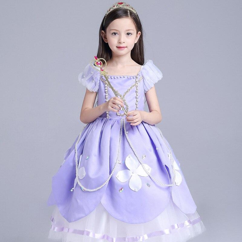 2017 princesse Sofia robe enfants mousson enfants dessin animé Costume filles fête robe filles enfants Halloween Cosplay Sofia vêtements