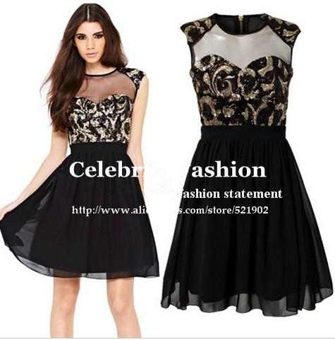 Xd91 Celebrity Style Women Y Body Hug Organza Insert Sequined Dress Casual Black Flare Party Free Shipping In Dresses From S Clothing