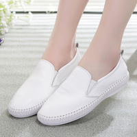 Fashion Women Casual Shoes Summer Leather Flats Comfortable Round Toe Sewing Loafers Slip On Chaussure Femme