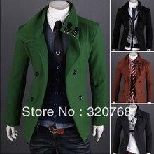 Бесплатная доставка 2013 новый мужской пальто мода двубортный пальто высокого сорта ткани пыли пальто шерстяное верхняя одежда
