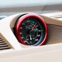 Aluminium Alloy Red Interior Car Compass Ring Cover Trim 1pcs For Porsche Cayenne 2018 2019