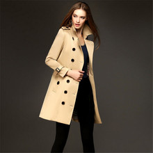 New High-End European Women Windbreaker Brand Original Design Double Breasted Slim Long Trench Coat For Women A1466