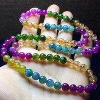 Одежда высшего качества Природные Красочные Радуга Кристалл Турмалина Браслеты 6 мм женское ожерелье 3 бусинки в виде колечек Бразилия AAAAA с