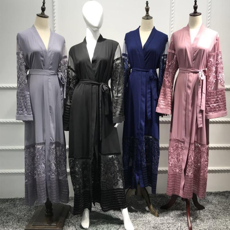Grande taille velours dentelle maille Kimonos Mujer Long 2019 Abaya Dubai Boho femmes Maxi Cardigan Blouse Roupa turc vêtements islamiques
