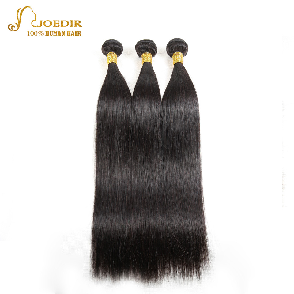 JOEDIR Unprocessed Human Hair weave 3 Bundles Deal Brazilian Straight Hair Bundles 8-26 Natural Black Non Remy Hair Extensions