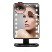 16 LED Touch Screen Makeup Mirror Portable 10X Magnifier Lighted Mirror Cosmetic Tool Adjustable Vanity Countertop