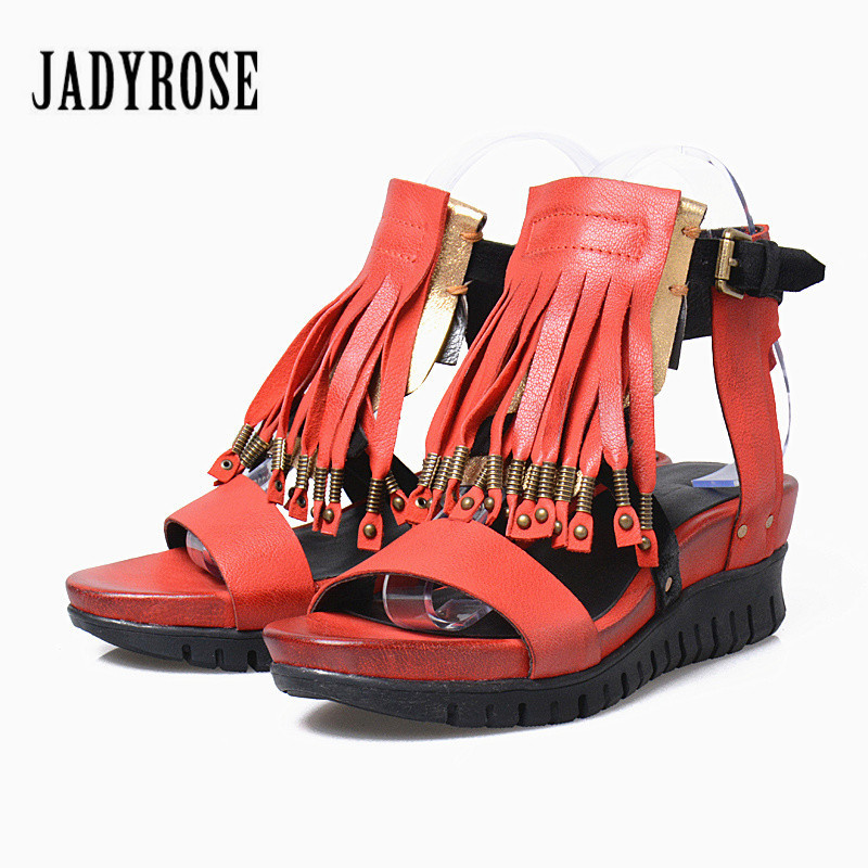 Jady Rose Red Female Genuine Leather Gladiator Sandals Fringed Platform Sandal Casual Beach Shoes Wedges Shoes for Women choudory bohemia women genuine leather summer sandals casual platform wedge shoes woman fringed gladiator sandal creepers wedges