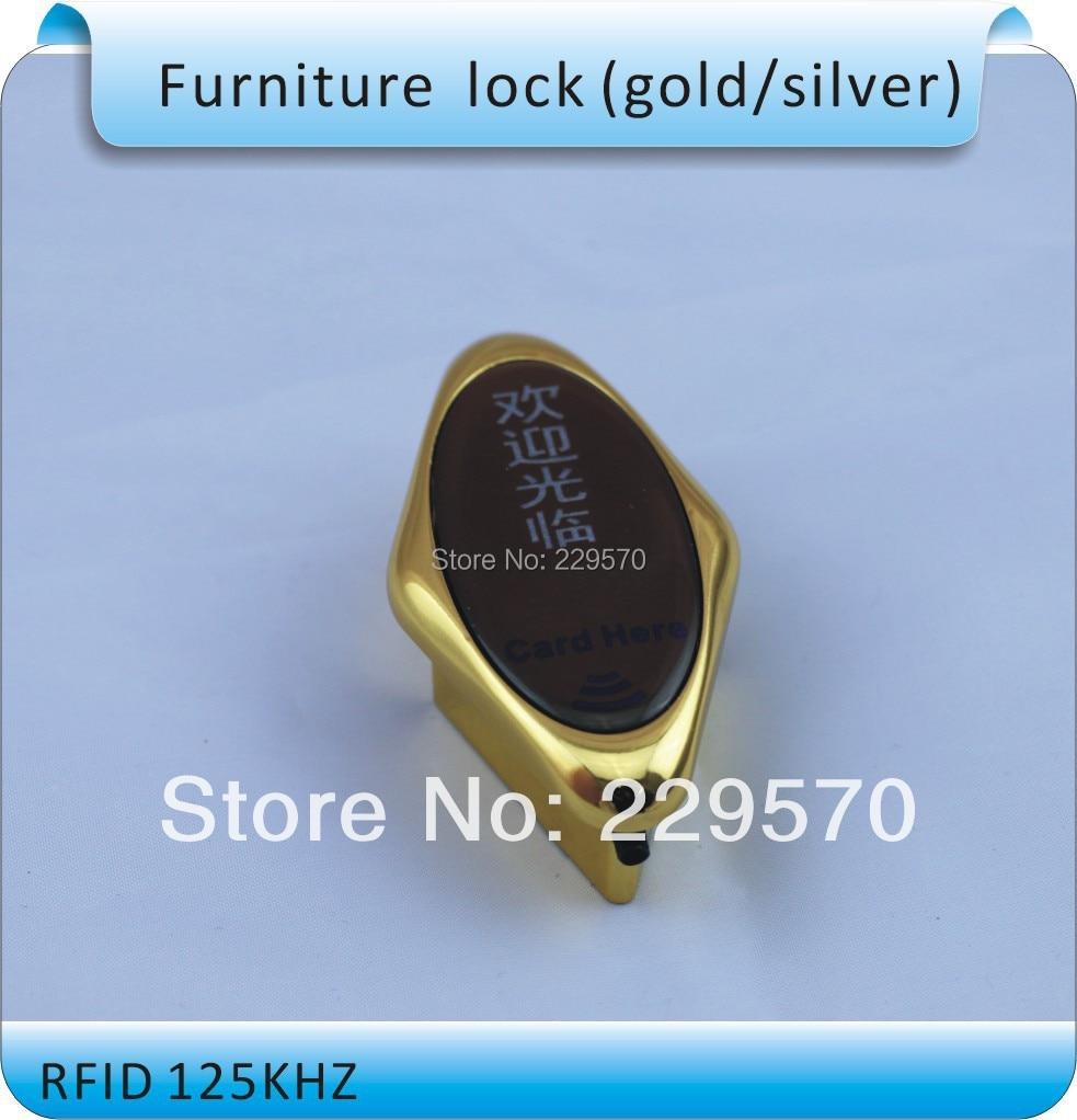 Free shipping SL-04 gold 125KHZ RFID  ID card wardrobe locks, electronic cabinet locks, titanium alloy+1 bracelet  cards