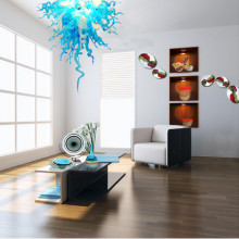 Brand New Modern LED Blown Glass Chandelier Blue Murano Lighting for Office Decor