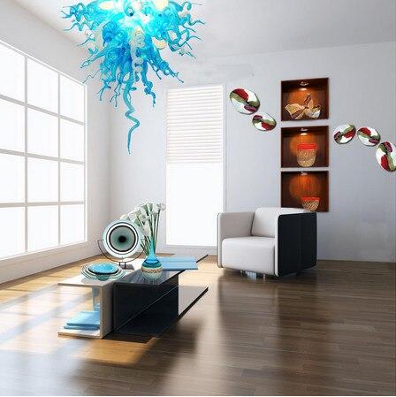 Marca New Modern LED Azul Murano Lustre De Vidro Soprado Iluminação para Decoração Do Escritório