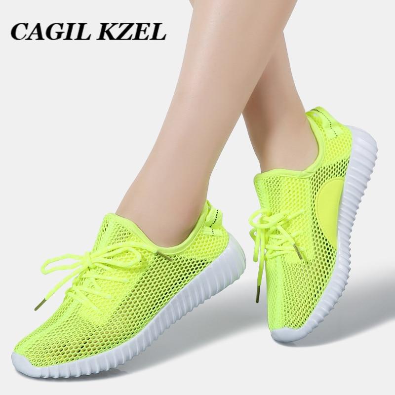 CAGILKZEL 2019 Summer Sneakers Women Shoes Breathable Mesh Casual Shoes Woman Lace-up Tenis Feminino Walking Shoes For Women