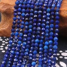 2mm 3mm Natural Round Faceted Lapis Lazuli Stone Blue Gemstone Loose Beads DIY Accessories for Jewelry Necklace Bracelet Making