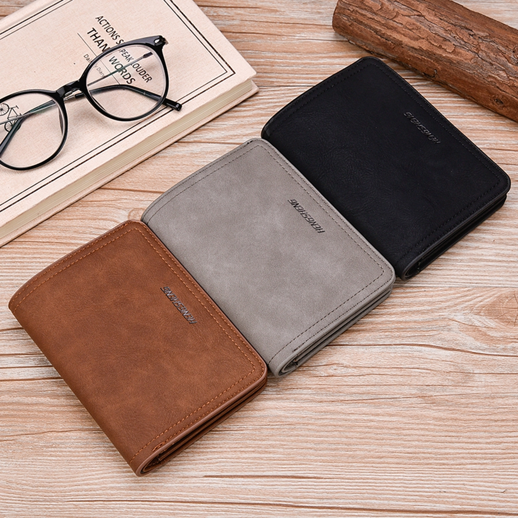 2018 Retro New Matte Leather Wallets Men Business Buckle Male Wallet Coin Pocket Purse Small Card Holder Coin Pocket Purse