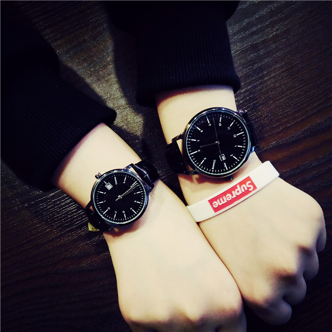 New Fashion Original Ulzzang Brand Leather Quartz Wristwatches Wrist Watch for Men Women Student Young Black Brown  classic ulzzang brand vintage genuine leather women men lovers quartz wrist watch gift black white brown