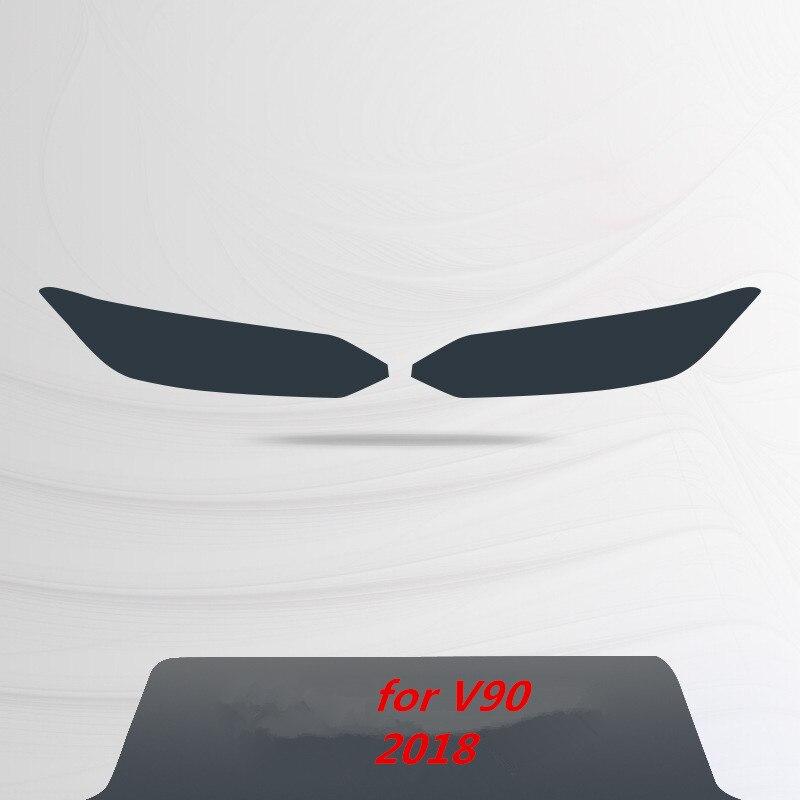 Для Volvo S60 XC90 XC60 V90 аксессуары головной светильник защитная пленка Цвет черный дымчатый матовый светильник головной светильник пленки углеродное волокно автомобильные наклейки - Название цвета: for V90  2018