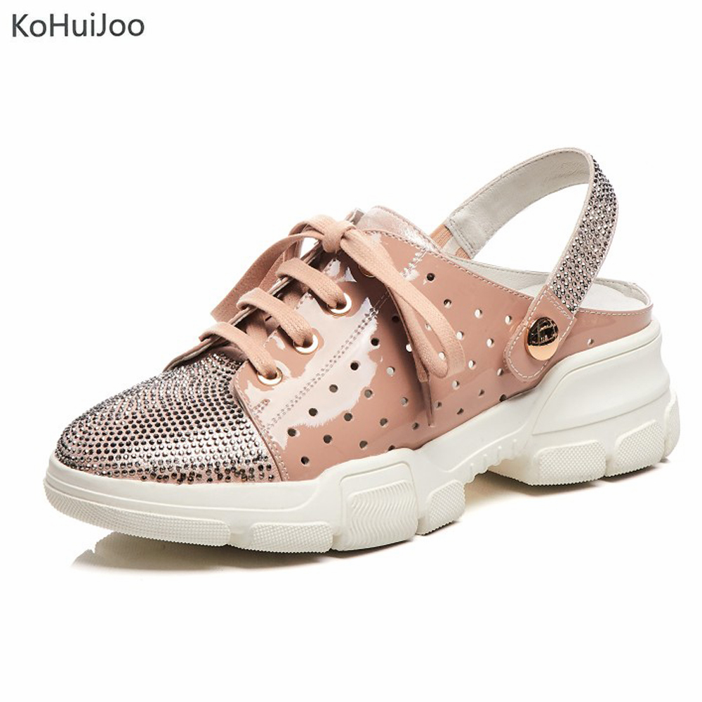 KoHuiJoo Spring Autumn Fashion Sneakers Women Lace up Crystal Beaded Casual  Genuine Leather Flat Platform Shoes 2019KoHuiJoo Spring Autumn Fashion Sneakers Women Lace up Crystal Beaded Casual  Genuine Leather Flat Platform Shoes 2019