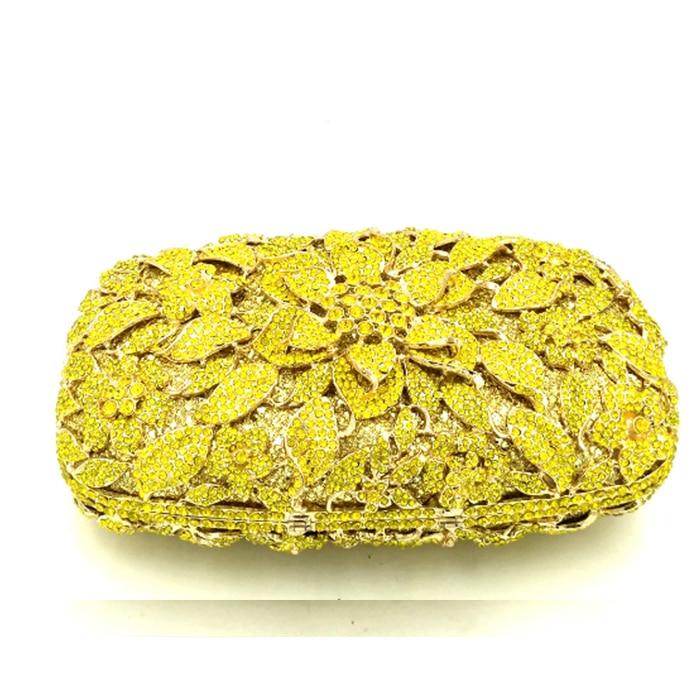 Embrayage Color Strass Mariage Luxe Main Sacs Diamant Designer De D'embrayage Partie Sac Cristal Same Pictur Jaune Marque À Soirée Fleur Xiyuan As 0fwqUU
