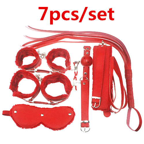 ФОТО Adult Game 7Pieces kit Leather Fetish sex bondage Restraint gag Queen Constume nipple clamps whip sex toy for couples