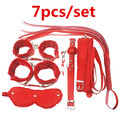 Adult Game 7Pieces kit Leather Fetish sex bondage Restraint gag Queen Constume nipple clamps whip sex toy for couples