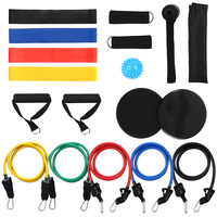 18PCS Fitness Bands Set Workout Training Resistance Bands Tube Bands Door Anchor Ankle Straps Gym Equipment Men Women Exercise