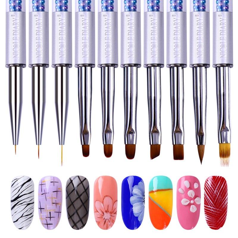 NICOLE DIARY UV Gel Nail Brush Liner Painting Pen Rhinestone Handle Nail Art Brush Manicure Diy Art Nails Tool