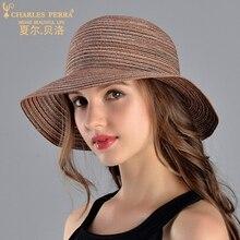 Charles Perra Sun Hats Female Elegant Fashion Straw Hat Collapsible Butterfly Knot Women Summer Beach Sunscreen Visor Caps 9026