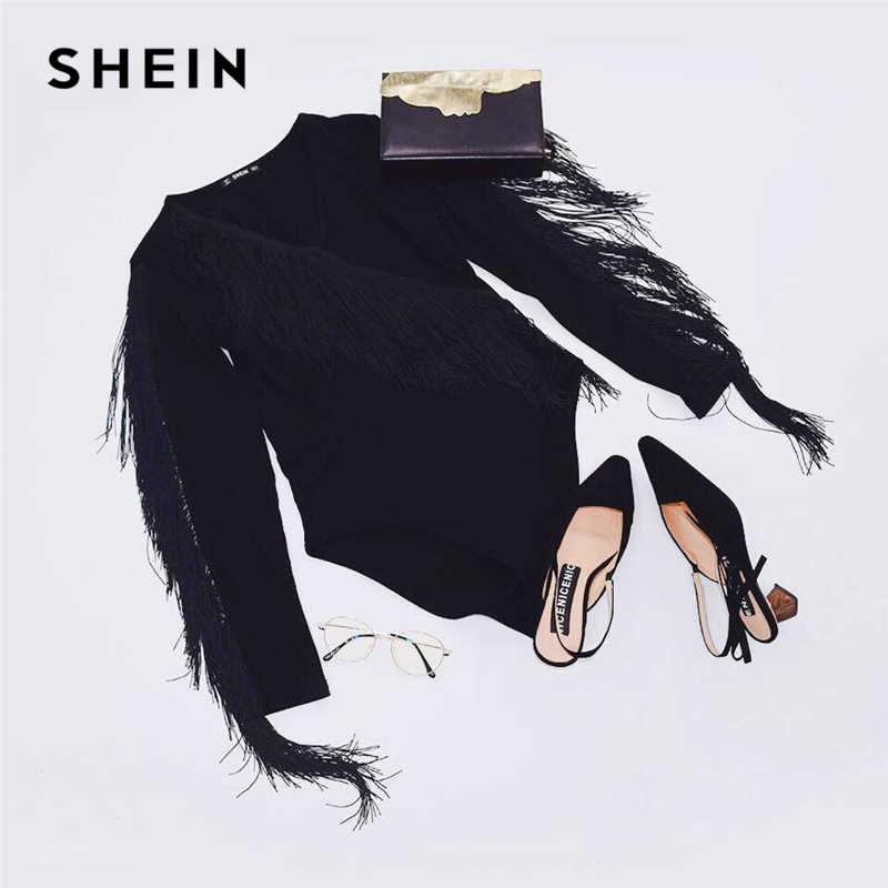 SHEIN Облегающее Боди С Бахромой, Элегантное Боди С V-Образным Вырезом, Нарядное Однотонное Боди