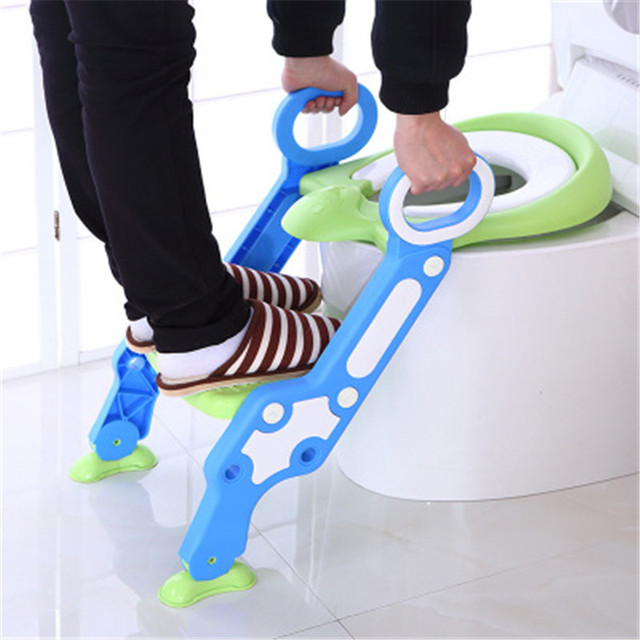 Baby Potty Toilet Safety Seat Chair Training With Adjustable Ladder Infant Anti-slip Folding Toilet Trainers Soft Pad 2 Colors