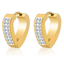 New Punk Gold Silver Color Heart CZ Crystal Stud Earring For Women Men Stainless Steel Creative Ear Clip Fashion Jewelry цена