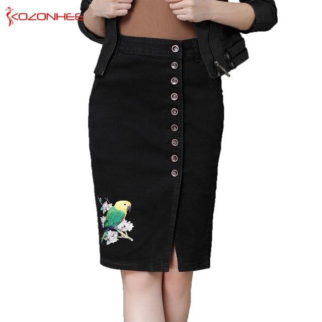 33825ea439e S-6XL Plus Size Stretch Embroidery Denim Pencil Skirts With High Waist  Elasticity Women Pencil Skirt Knee-Length Female  31