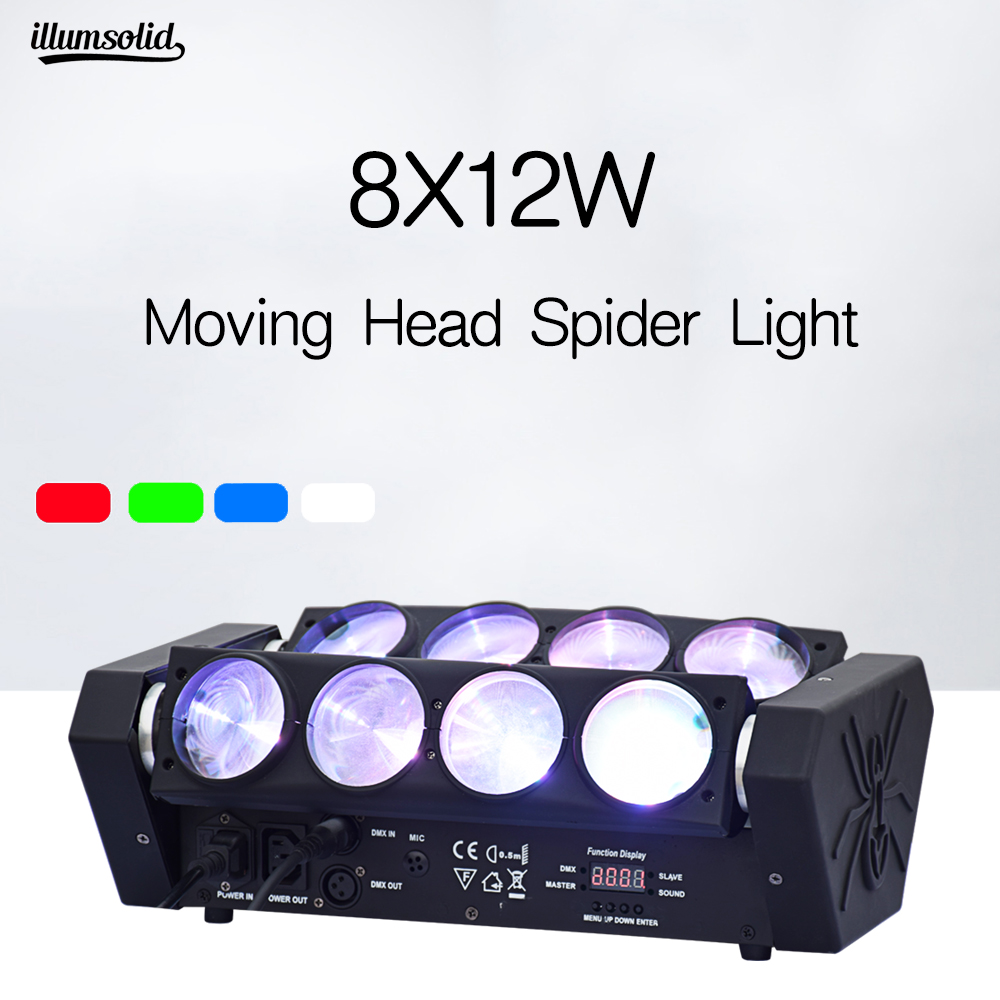 Led Spider 8x12w Moving Head Lights For Club Dj Disco Party Stage Event Show