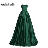 Custom Made Sweetheart Neckline Satin Floor length Vestido Longo Women Vintage Emerald Green Gowns Evening Formal Elegant Dress