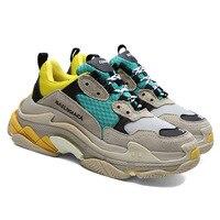 Женская Повседневная обувь в стиле пэчворк на толстом каблуке и платформе, женские модные кроссовки из натуральной кожи, большие размеры, т