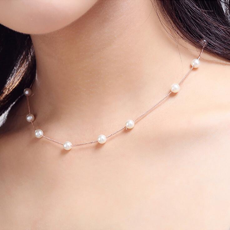 2017 new arrival high quality 6mm shell pearl women short chain 925 sterling silver ladies`necklaces birthday gift wholesale