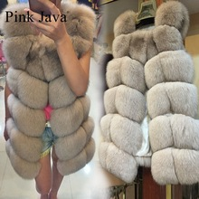 Pink Java QC8046 BIG SALE FREE SHIPPING  hot new  natural fox fur long vest  real fox fur gilet winter high quality women fox