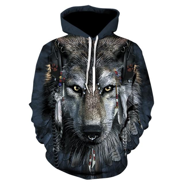 Pria Wanita Hoodie 3D Punk Wolf Kaus Lucu Hewan Pola Pritned Pullover Musim  Gugur Musim Dingin 50fe500559