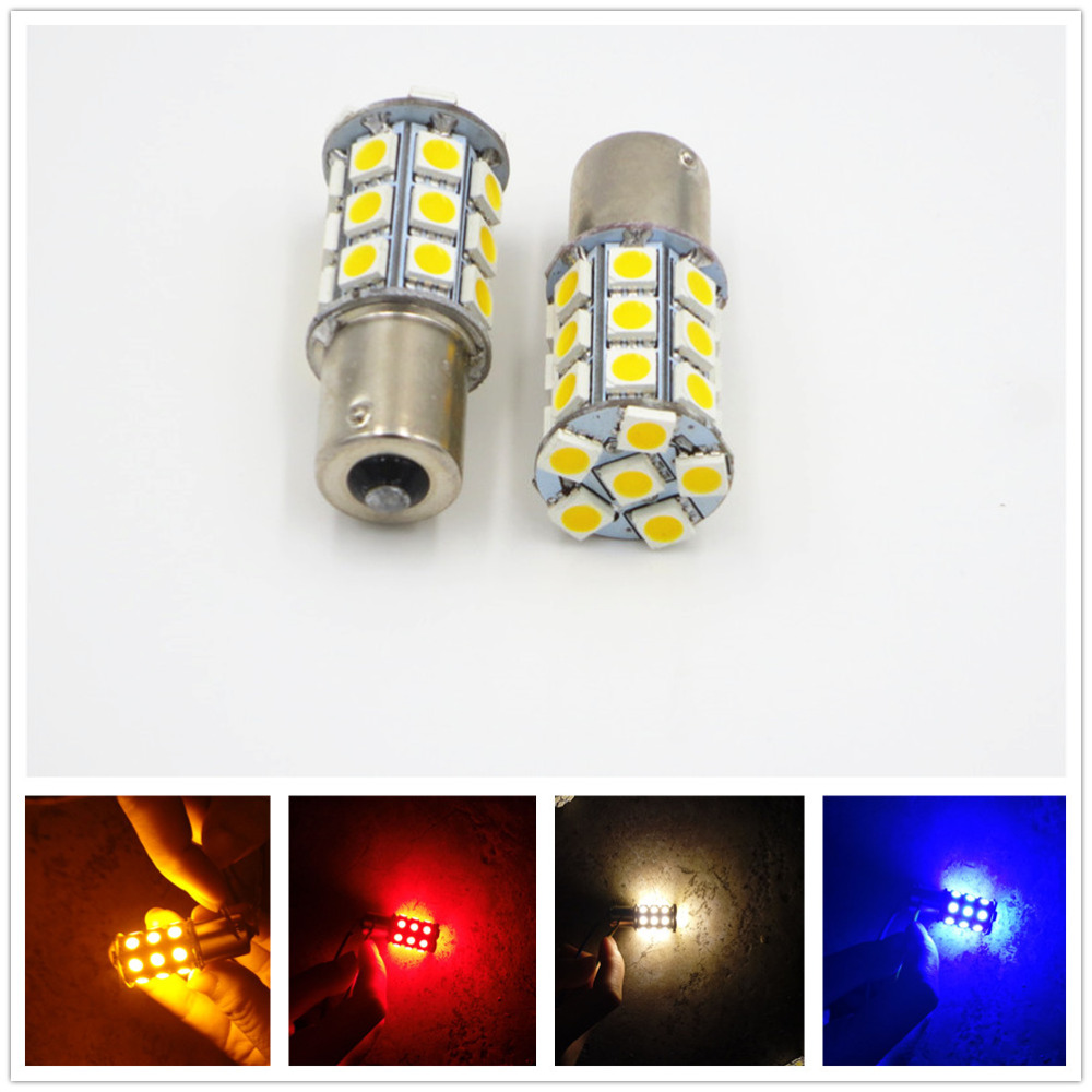 2X 1156 P21W BA15S 1141 27 SMD 5050 LED Turn Signal Light Parking Lamp Bulb Auto White Amber Red Blue 12V 24V