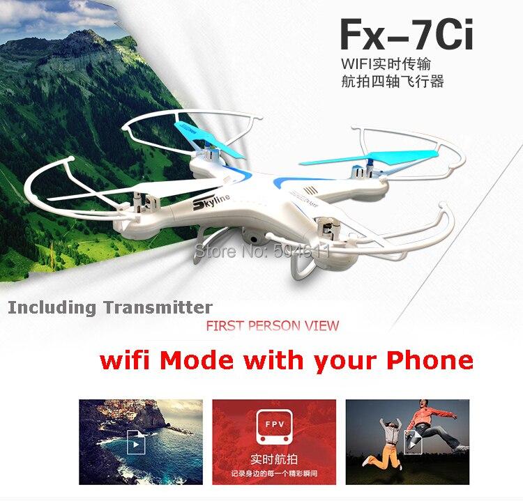 Fineco FX 7ci 2.4 ghz 4ch axis gyro wifi in tempo reale video rc quadcopter ufo fpv con trasmettitore 2.0mp hd macchina fotografica rtf
