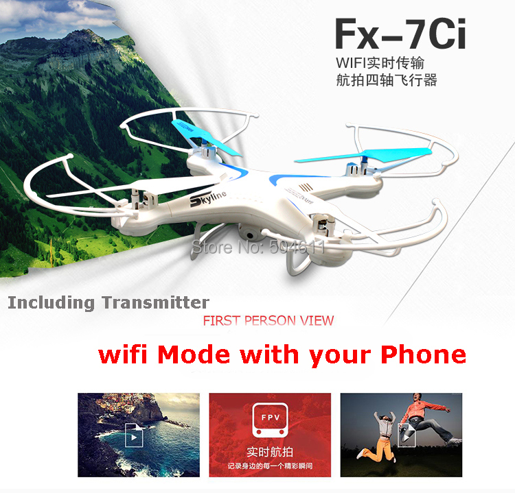 Fineco FX-7ci 2.4GHz 4CH 6-Axis Gyro WiFi Real Time Video RC Quadcopter UFO FPV with Transmitter 2.0MP HD Camera RTF wltoys v686k wifi video real time phone fpv quadcopter with camera headless mode 2 4g 4ch 6 axle gyro rc drone ufo rtf vs x5sw