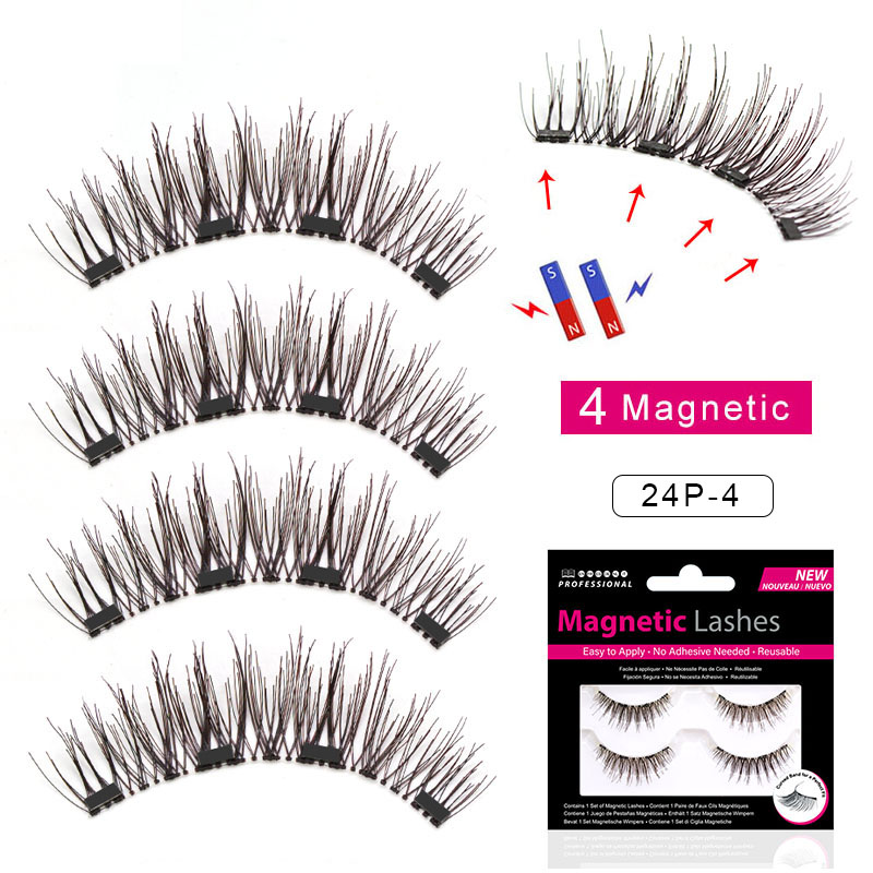 Viciley 4pcs/pair Magnetic Eyelashes 3d Magnet Lashes Soft Natural Long Hair Magnet Eyelash On The Magnet False Eye Lash 24p-4 False Eyelashes Beauty Essentials