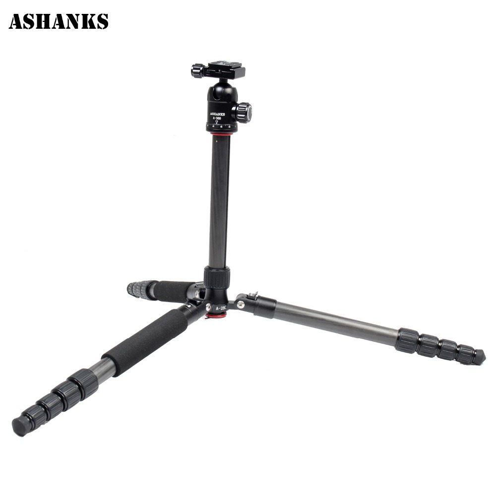 ASHANKS A28C Carbon Fiber 157cm/61.81 in Lightweight Portable Camera Tripod Monopod with 360 Degree Ball Head Load to 12KG ashanks mini carbon fiber handheld