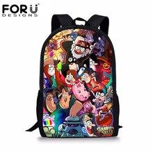 3c794dcf7013 FORUDESIGNS Гравити Фолз печать мультфильм школьные рюкзаки для девочек  Дети Рюкзак для детей школьный рюкзак для