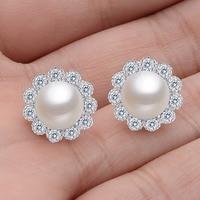 BELLA 925 Sterling Silver 8mm Freshwater Cultured Pearl Around Gems Stud Earrings W SGS Certification Wedding