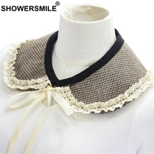 SHOWERSMILE Detachable Peter Pan Collar Women Fake Houndstooth Woolen Bow Cute Ladies False