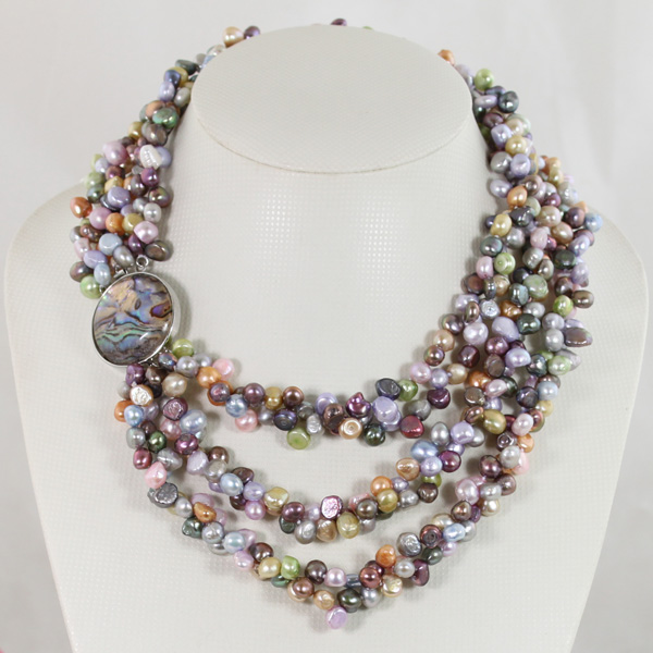 Multicolor Bridesmaid Gift Pearl Necklace Handmade 3 Rows Freshwater Pearls Beaded Necklace QW659 цены онлайн